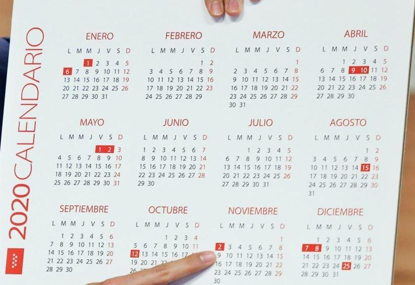 Calendario laboral 2.020 Comunidad Madrid
