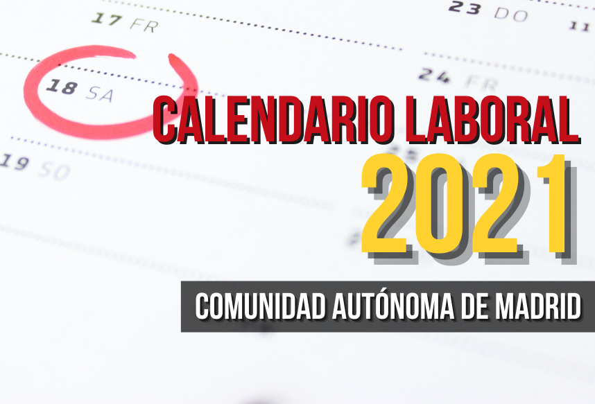 Calendario laboral 2021 Comunidad Madrid